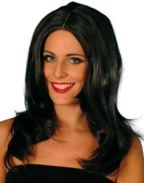 Ladies Fancy Dress Superstar Long Wavy Wig - Dark Brown